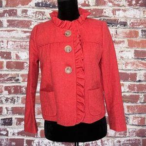 J Crew Fiona red herringbone wool coat
